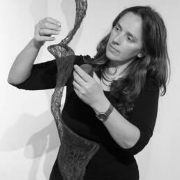 Ruth Broadbent creating a thread artwork